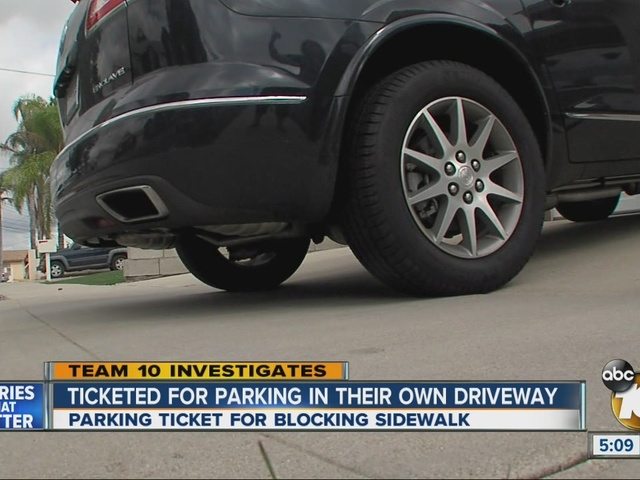 Ticketed for parking in their own driveway