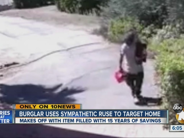 Burglary bearing gas can cleans out home