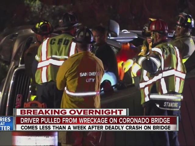 Crews extricate driver from wrecked truck on Coronado Bridge