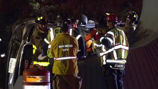 Crews extricate driver in Coronado Bridge crash