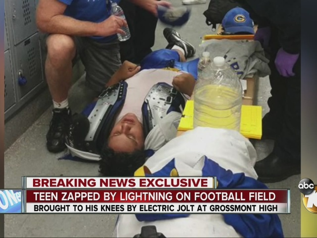 Teen zapped by lightning on football field