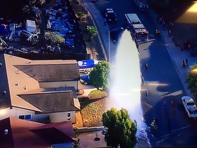 Water break floods El Cajon street