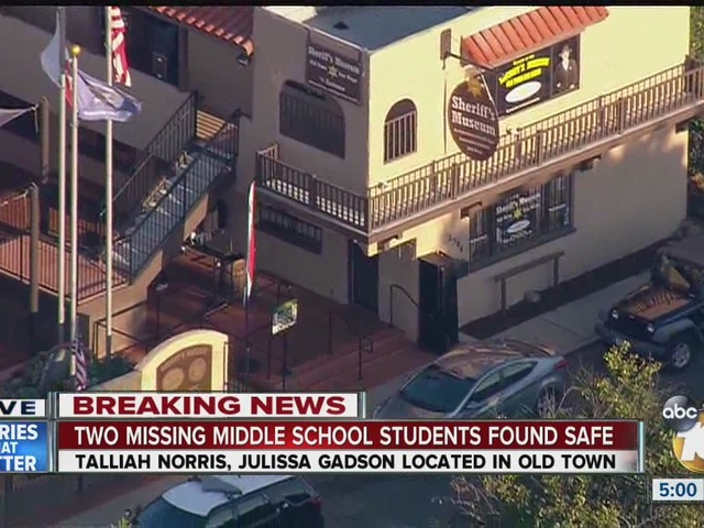 2 girls reported missing in Point Loma found safe in Old Town
