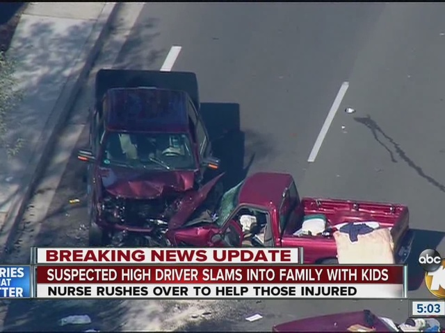 A suspected drugged driver hit a family of 3, including a little boy and girl