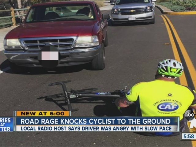 Angry driver knocks local radio host off his bicycle during charity ride
