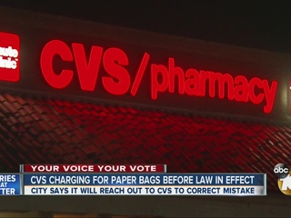 CVS charging for paper bags before law in effect