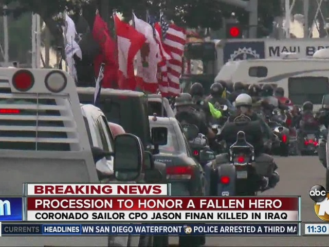 San Diego procession honors sailor killed in Iraq