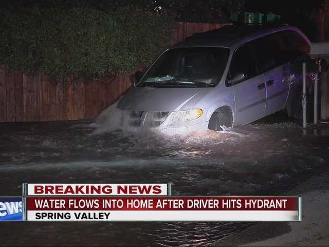 Minivan lands on fire hydrant in Spring Valley, water rushes into nearby home