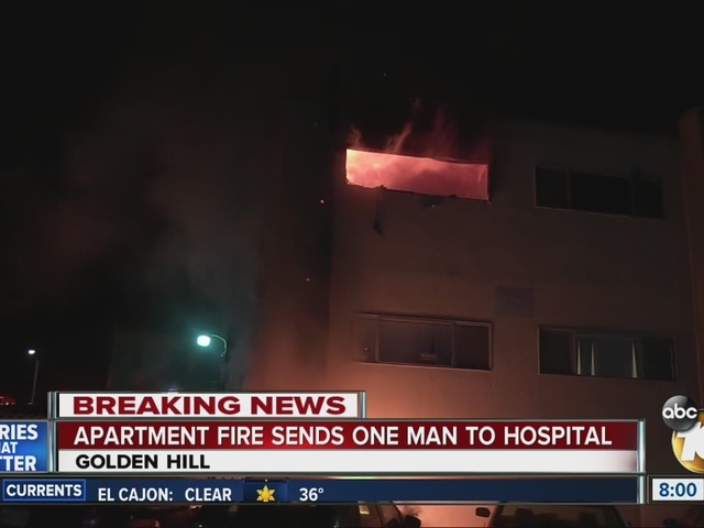 Apartment fire sends one man to hospital