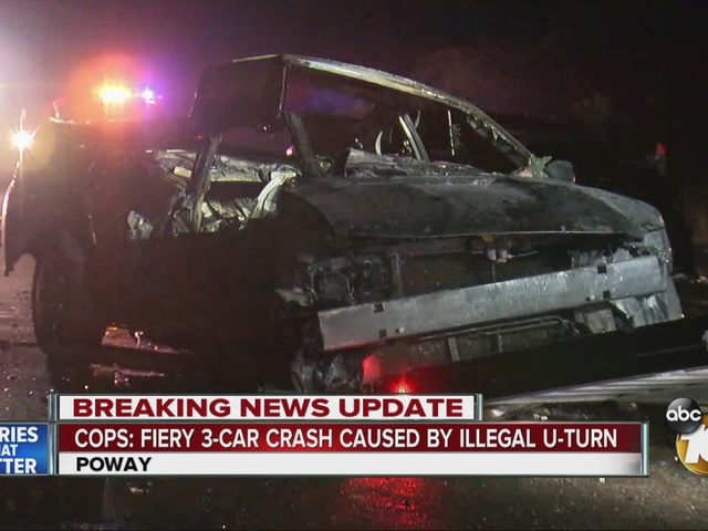 Cops: fiery three-car crash caused by illegal u-turn