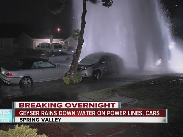Huge geyser after car crashes into hydrant in Spring Valley