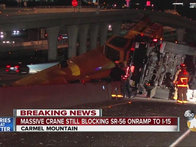 Massive crane still blocking SR-56 onramp to I-15
