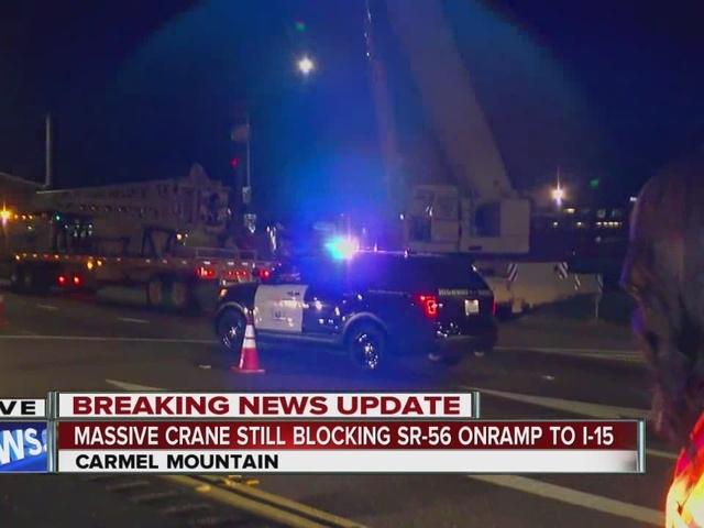 Massive crane still blocking SR-56 on-ramp to I-15