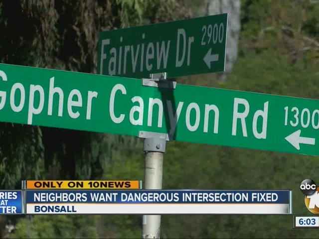 Residents call Gopher Canyon Road-Fairview Drive intersection…