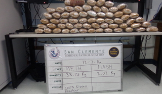 Meth, hash found inside truck at checkpoint