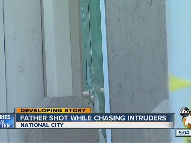 Father shot while chasing intruders