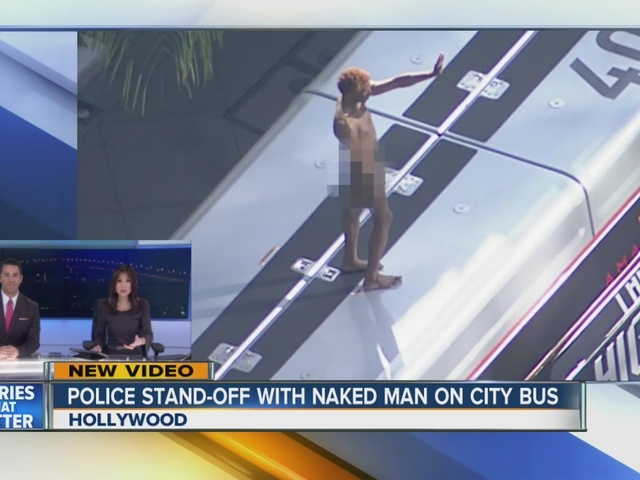 Naked man struts on top of West Hollywood bus