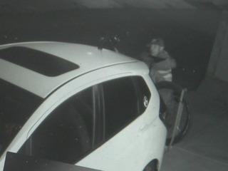 Man hides something under blanket, targets bike