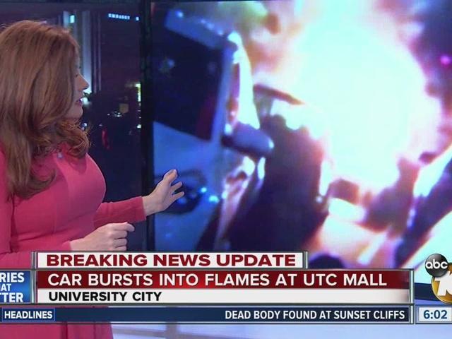 Car bursts into flames at UTC mall