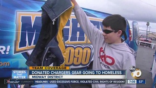 San Diegans donate Chargers gear to homeless