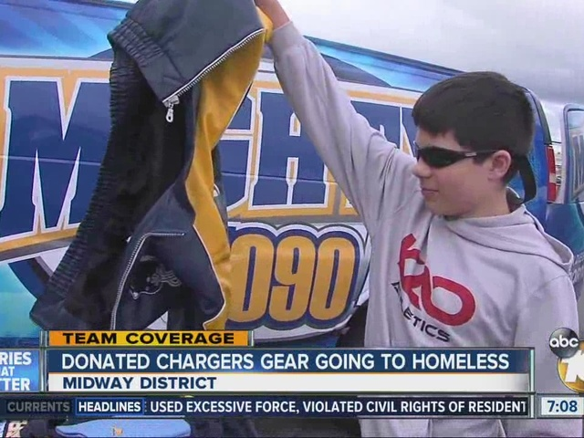 Donated Chargers gear going to homeless