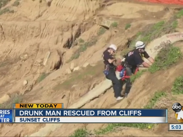 Drunk man rescued from Sunset Cliffs, yells