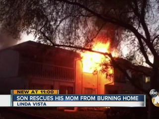 Man saves mom from raging house fire