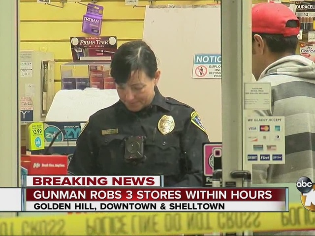 Gunman robs three stores within hours