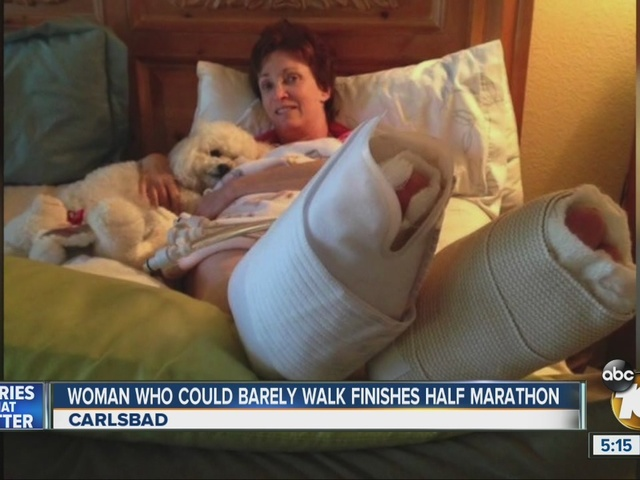 Woman who could barely walk finishes Carlsbad marathon