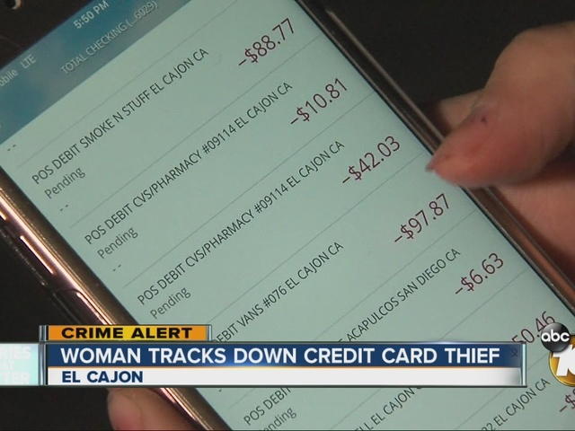Woman tracks down credit card thief