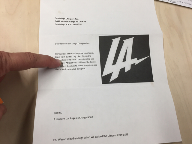 Letter adds insult to Chargers fans' loss