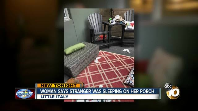 Woman says stranger was sleeping on her porch