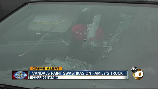 Vandals paint swastikas on family-s truck