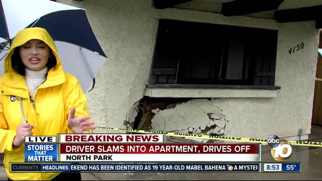 Driver slams into North Park apartment- drives off