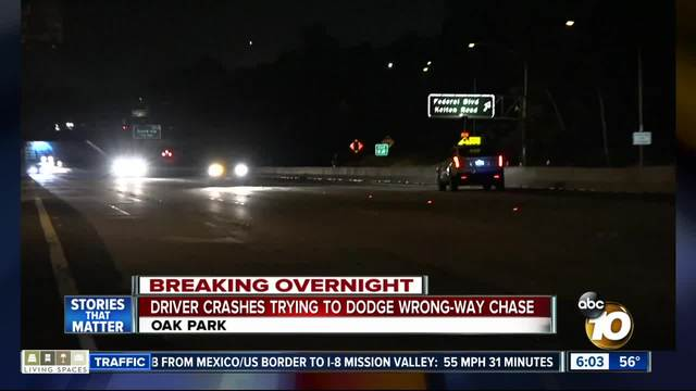 Driver crashes trying to dodge wrong-way chase