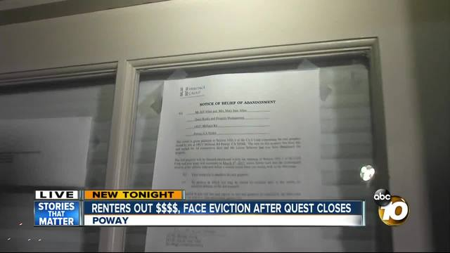 Renters out thousands- face eviction after Quest closes