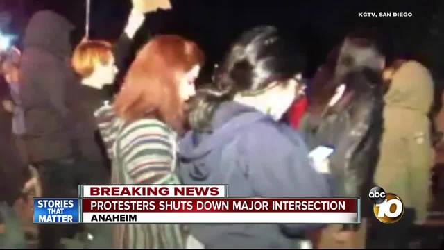 Protesters shut down major intersection
