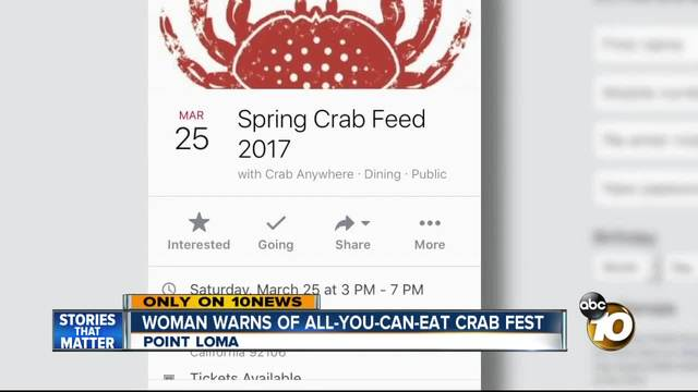 Local woman buys tickets to all-you-can-eat crab festival- learns event…