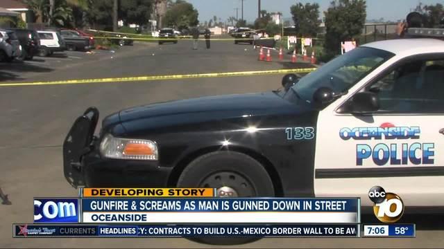 Gunfire - screams as man is gunned down in street