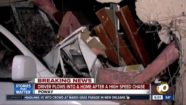 Driver plows into Poway home after a high-speed chase