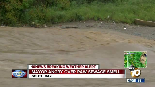 Mayor angry over raw sewage smell