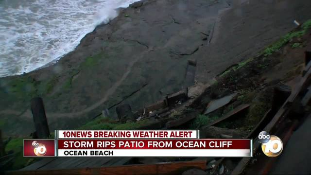 Storm rips patio from Ocean cliff