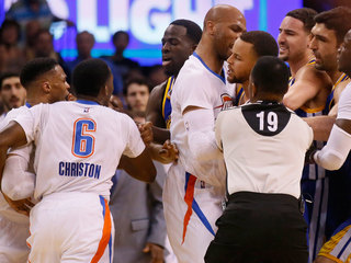 Tempers flare during Warriors-Thunder matchup