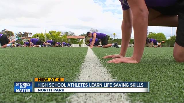 High school athletes learn life saving skills