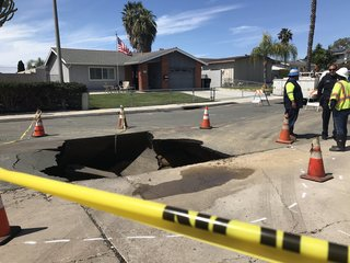 Truck nearly plunges into Otay Mesa sinkhole