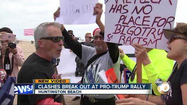 Protestors Arrested After Scuffle at Pro-Trump Rally in Huntington Beach