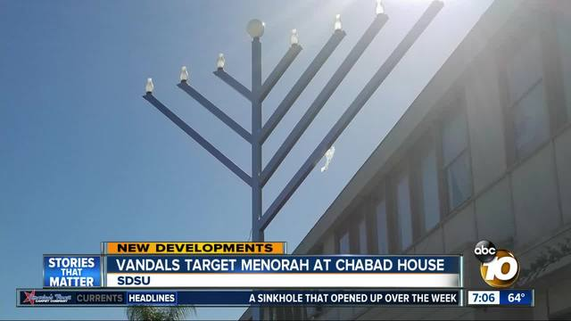 Vandals target menorah at Chabad House