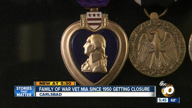 Family of war vet MIA since 1950 getting closure