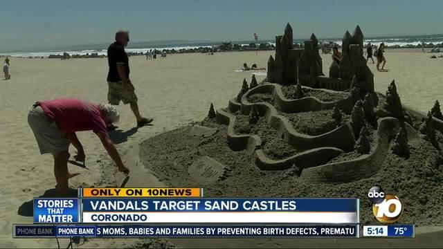 Vandals target sand castles