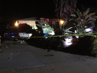 Car bursts into flames after violent crash